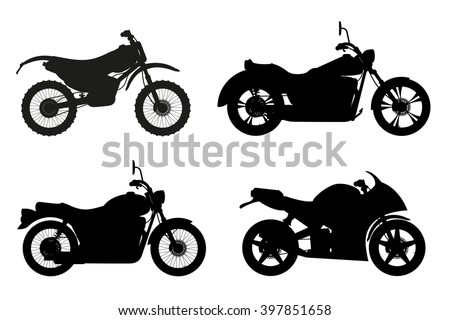 motorcycle set icons black outline silhouette vector illustration isolated on white background - stock vector