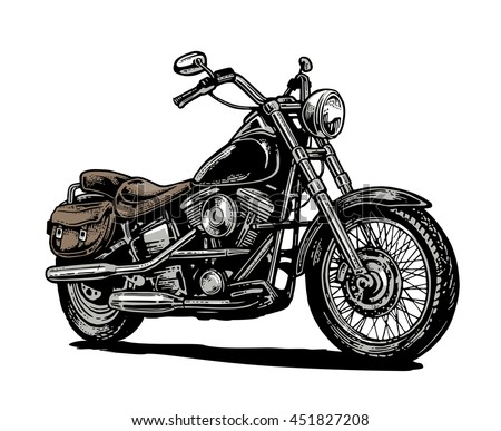 hand drawn classic chopper bike in engraving style vector color