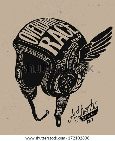 Motorcycle Themed  handmade drawing helmet - stock vector