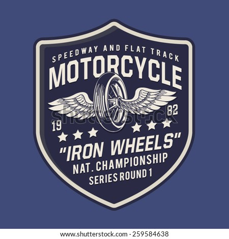 Motorcycle typography, t-shirt graphics, vectors - stock vector