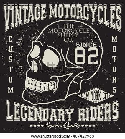 Motorcycle vintage graphic, motorcycle emblem vector print and varsity. For t-shirt or other uses in vector.T shirt graphic
