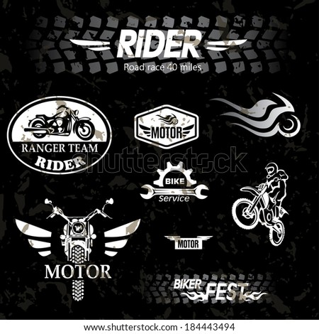 motorcycle vintage labels, set of emblems - stock vector