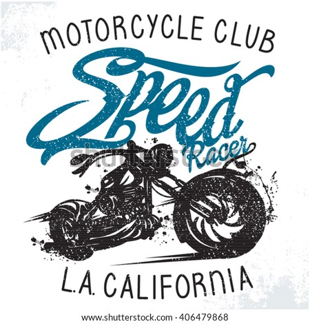 Motorcycle vintage racing typography, t-shirt graphics, vectors. Stamp effect.Printing for clothing