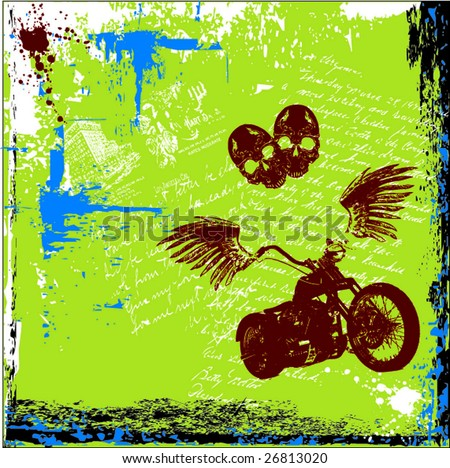 motorcycle with wings grunge background - stock vector