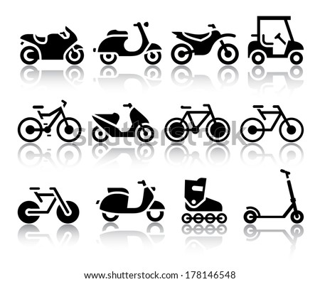 Motorcycles and bicycles set of black icons. Vector illustrations, silhouettes isolated on white background - stock vector