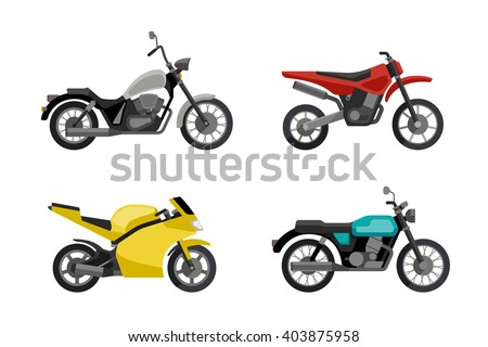 Motorcycles in flat style. Vector illustrations of different type motorcycles. Motorcycle icons set. - stock vector
