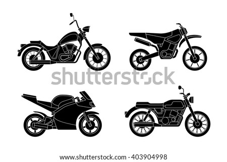 Motorcycles set. Vector silhouettes of different type motorcycles. - stock vector