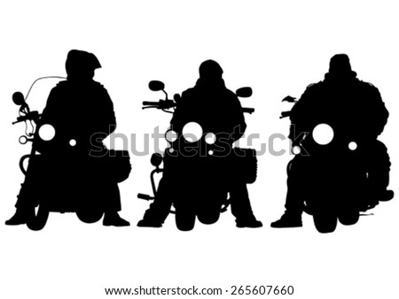 Motorcyclist in sportswear on white background - stock vector