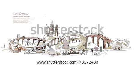 motorway - stock vector
