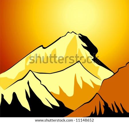 mount Everest - stock vector