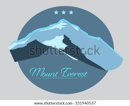 Mount Everest label with type design in vintage style. Illustration
