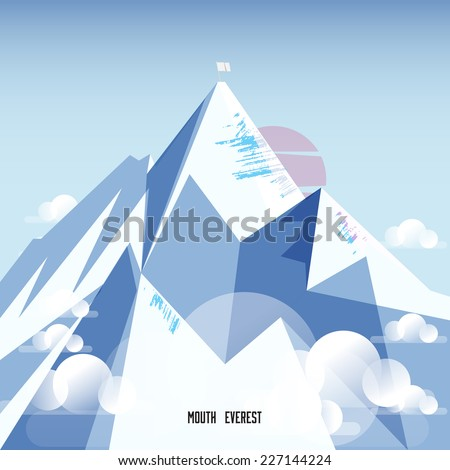 Mount Everest. snow mountain - vector illustration - stock vector