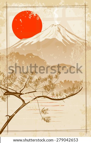 Mount Fuji on the background of the sun