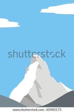 Mount Matterhorn (Cervino) - beautiful peak in the Alps - vector illustration - stock vector