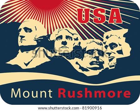 Mount Rushmore National Memorial, EPS 8, CMYK. USA landmark, Shrine of Democracy. - stock vector