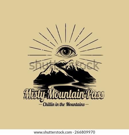 Mountain Adventure Explorer graphic design  - stock vector