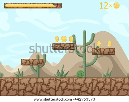 Mountain and desert seamless background illustration for mobile app, web, game with cactuses and game icons. Vector screen template with gui elements.