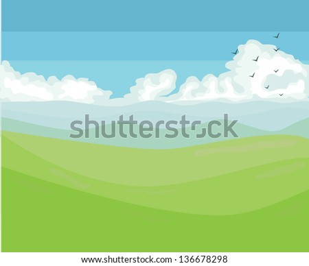 Mountain and green hills with blue sky and clouds Spring view vector - stock vector