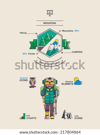 mountain and hiking background, vector elements. - stock vector