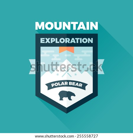 Mountain and polar bear badge graphic emblem