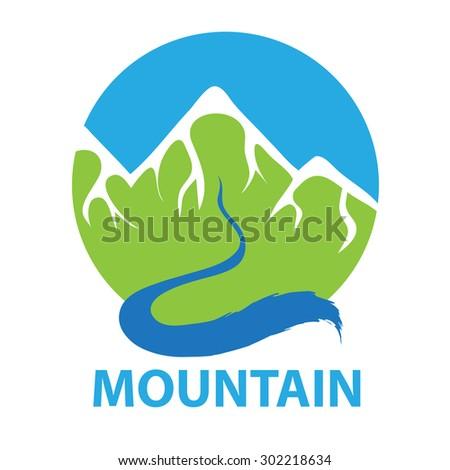 Mountain and river, vector logo illustration - stock vector