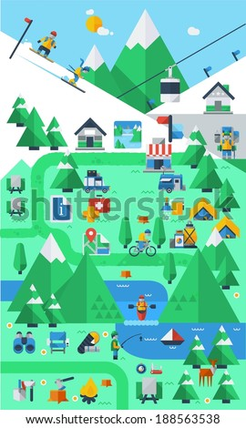 mountain background,infographics - stock vector
