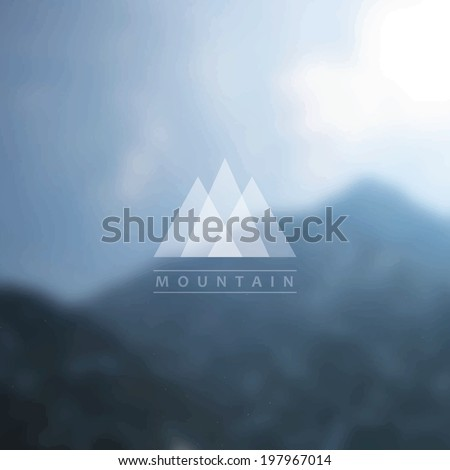 Mountain background with badge - stock vector