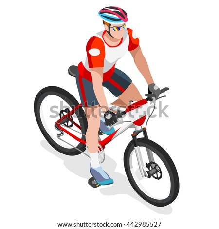 Mountain Bike Cyclist Bicyclist Athletes Sportsman Bicycle Games. 3D Isometric Athlete. Sporting Championship International Competition. Sport Infographic Mountain Bike Race olympics Vector Image