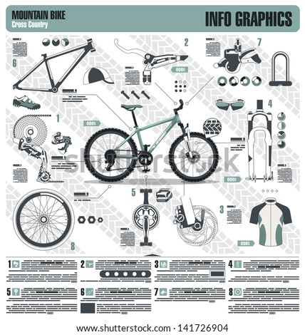 Mountain bike info graphic elements, vector - stock vector