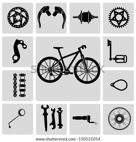 Mountain bike info graphic elements, with spare parts vector - stock vector