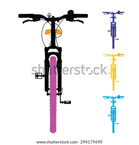 Mountain bike isolated. Front view. Vector, illustration. - stock vector