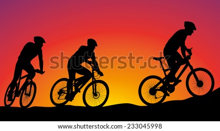 mountain bike race - cyclists silhouettes on the background - stock vector