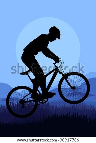 Mountain bike rider in wild nature landscape background illustration ...