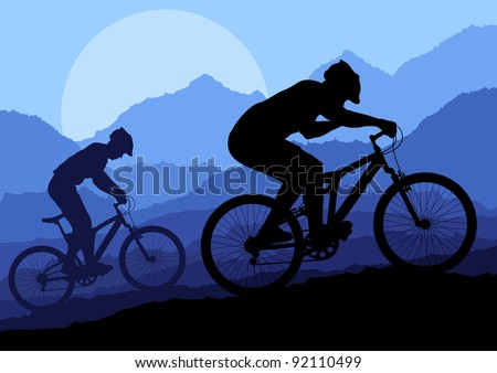Mountain bike riders in wild nature landscape background illustration vector - stock vector