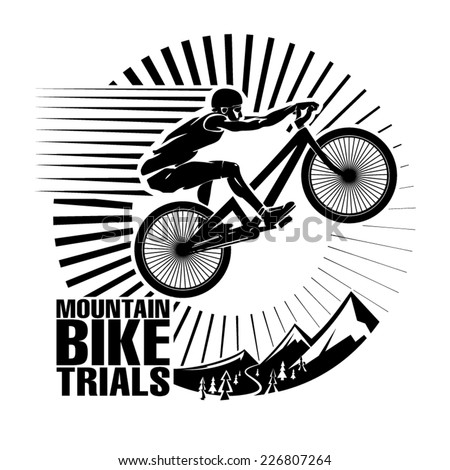 Mountain bike trials. Vector illustration in the engraving style - stock vector