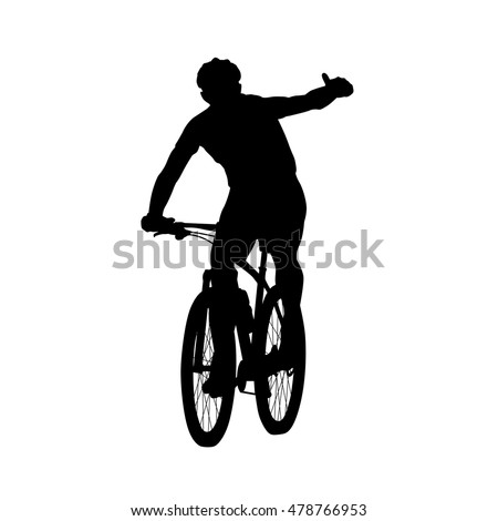 mountain biker showing thumbs up cycling vector silhouette front view summer sport