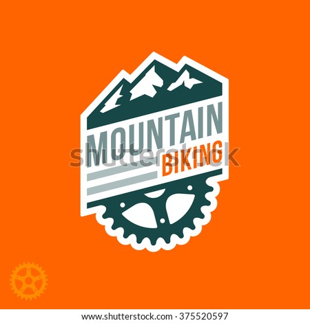 Mountain biking badge logo with graphic accents