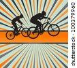 Mountain biking burst vector background - stock vector