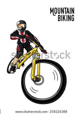 mountain biking illustration in white background, vector - stock vector