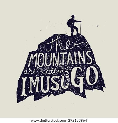 mountain calligraphy. hiker silhouette. vector illustration - stock vector