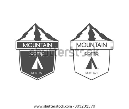 Mountain camp badge, logo and label template. Travel, hiking, climbing style. Outdoor monochrome and line design. Best for adventure sites, travel blogs etc. On white background. Vector illustration - stock vector