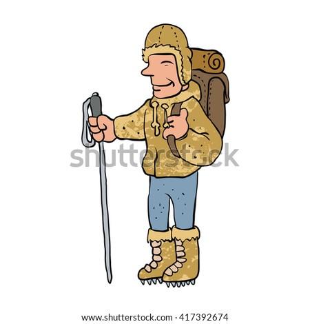 Mountain climber cartoon character - stock vector