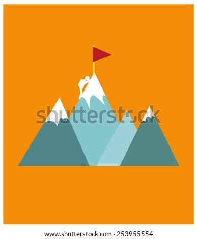 Mountain climber poster design  - stock vector