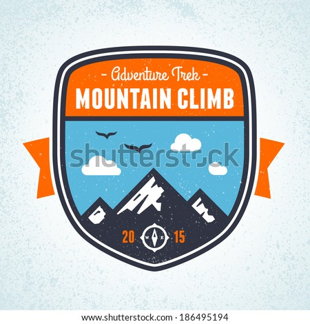 Mountain climbing adventure badge graphic design emblem - stock vector