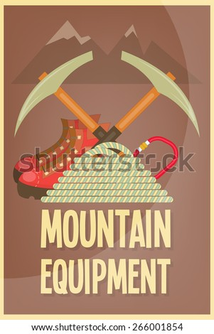 Mountain Climbing Placard in Retro Style. Camping and Hiking Elements. Vector Illustration. - stock vector