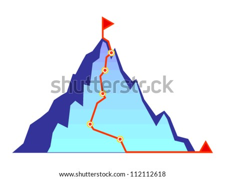 Mountain climbing route - vector icon - stock vector