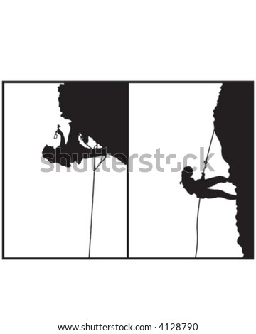 Mountain Climbing 3 Silhouette - stock vector