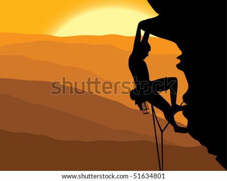 Mountain climbing vector - stock vector