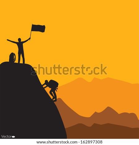 Mountain climbing, vector illustration - stock vector