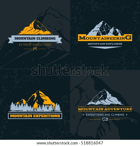 Mountain Emblem Template Set. Symbol of Outdoor Activity. Vector illustration.